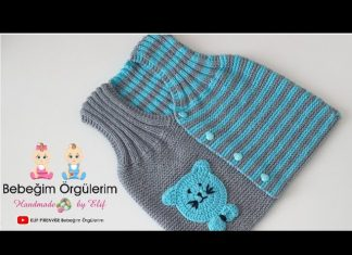 İki Renkli Bebek Yeleği Yapılışı - Bebek Hırkaları Yelekleri - bebek yelekleri örnekleri iki renkli bebek yeleği modeli iki renkli örgü modelleri açıklamalı son model bebek yelekleri