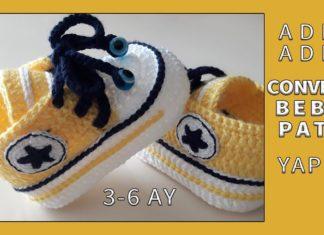 Converse Bebek Patiği Yapımı - Örgü Bebek Patik Modelleri - converse bebek patik converse bebek patik örnekleri converse bebek patik yapılışı tığ işi converse bebek patiği yapılışı anlatımlı