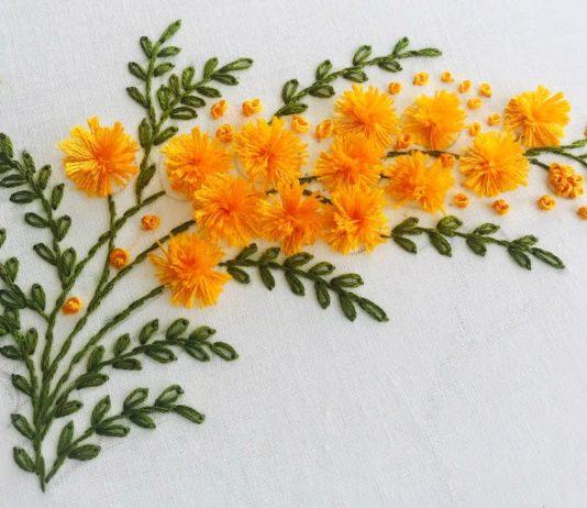 El Nakışı Mimoza Çiçeği Yapılışı - Nakış - brezilya nakışı nasıl yapılır brezilya nakışı örnekleri el nakışı çiçek yapımı el nakışı videoları