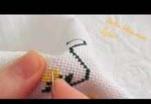 Kanaviçe Havlu Yapılışı - Kanaviçe Etamin Örnekleri - anlatımlı kanaviçe havlu örnekleri çeyizlik kanaviçe havlu cross stitch kanaviçe büyük havlular kanaviçe havlu örnekleri