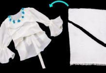 Eşarptan Bluz Yapımı - Dikiş - eski kıyafetlerden yeni fikirler evde dikiş makinesiyle neler yapılır kalıpsız dikiş dikmek şaldan bluz yapımı yazmadan elbise