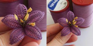 İğne Oyası Zambak Yapımı - İğne Oyaları - iğne oyası örnekleri iğne oyası zambak çiçeği iğne oyası zambak çiçeği yapımı iğne oyası zambak modelleri zambak iğne oyası